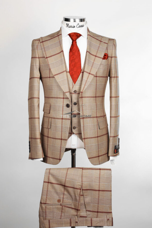 Peach Check Three Pairs Single Button Suit