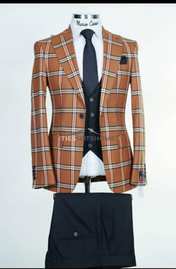Brown Three Piece Double-breasted Suit