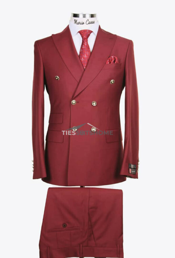 Wine Double-breasted suit