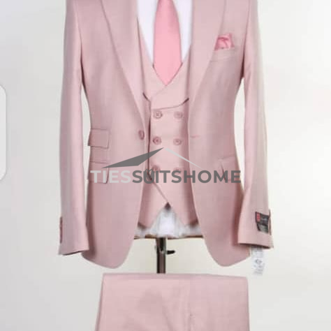 Pink Plain Three Piece Single Button Suit