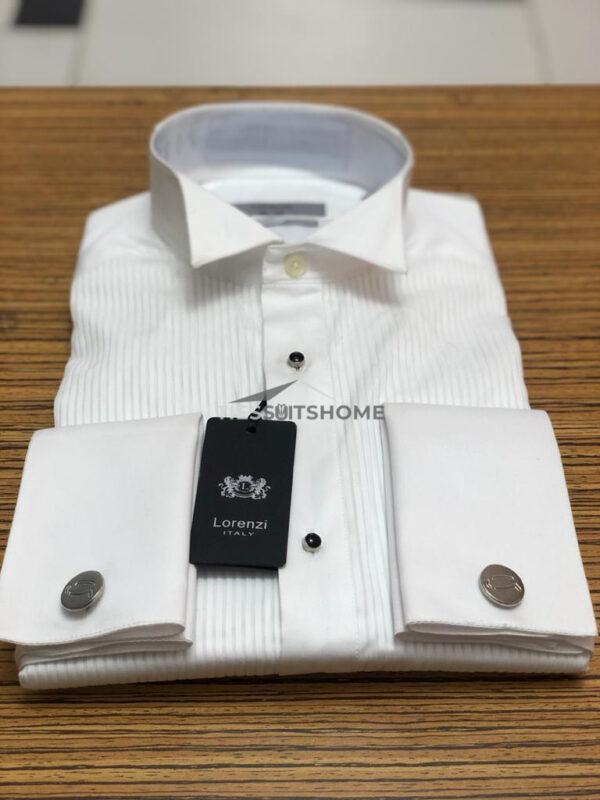White Cufflinks Wing Collar Long Sleeve Shirt