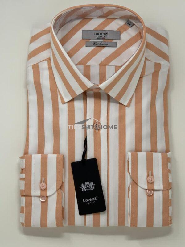 Brown Stripes Pattern Long Sleeve Shirt