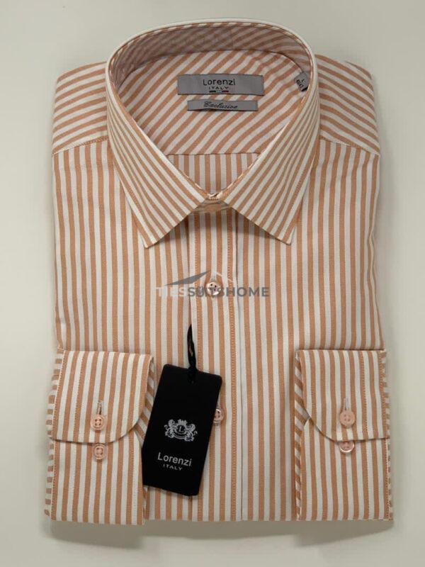 Brown Stripes Spread Collar Long Sleeve Shirt