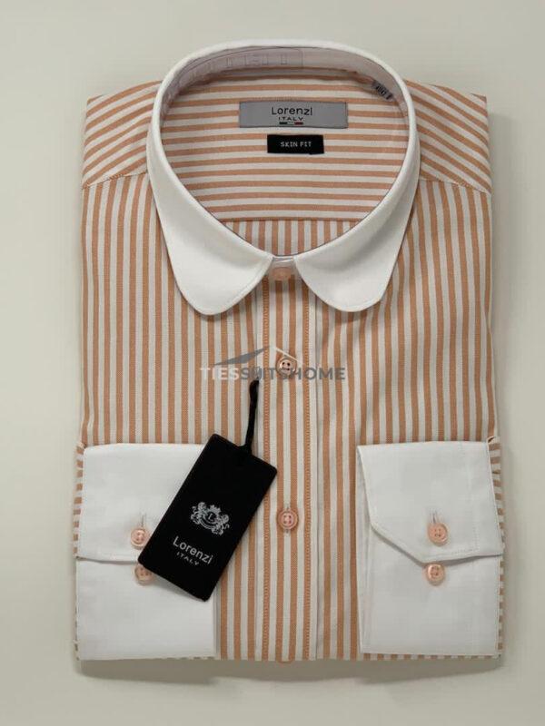 Brown Stripes Club Collar Long Sleeve Shirt