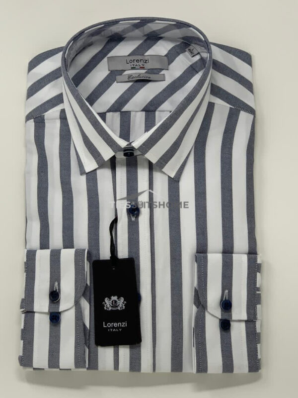 Black and White Stripes Spread Collar Long Sleeve Shirt